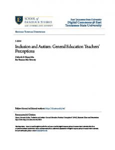 Inclusion and Autism: General Education Teachers Perceptions