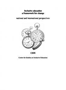 Inclusive education a framework for change. national and international perspectives