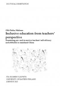 Inclusive education from teachers perspective Examining pre- and in-service teachers self-efficacy and attitudes in mainland China