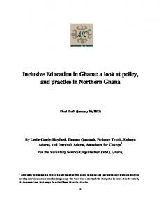 Inclusive Education in Ghana: a look at policy, and practice in Northern Ghana