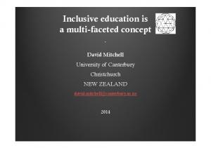 Inclusive education is a multi-faceted concept