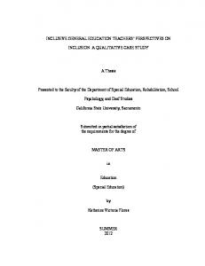 INCLUSIVE GENERAL EDUCATION TEACHERS PERSPECTIVES ON INCLUSION: A QUALITATIVE CASE STUDY. A Thesis