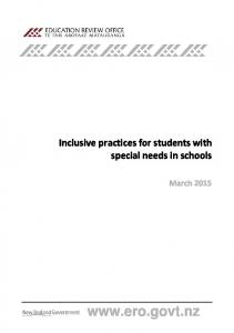 Inclusive practices for students with special needs in schools. March