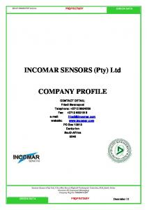 INCOMAR SENSORS (Pty) Ltd COMPANY PROFILE