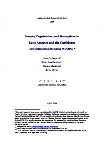 Income, Deprivation, and Perceptions in. Latin America and the Caribbean: