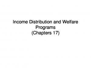 Income Distribution and Welfare Programs (Chapters 17)