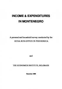 INCOME & EXPENDITURES IN MONTENEGRO