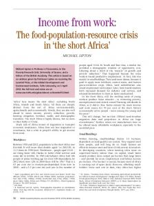 Income from work: The food-population-resource crisis in the short Africa MICHAEL LIPTON. Smallholdings. Workforce