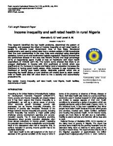 Income inequality and self rated health in rural Nigeria