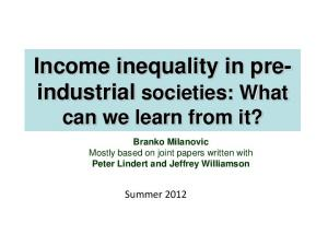 Income inequality in preindustrial