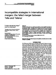 Incompatible strategies in international mergers: the failed merger between Telia and Telenor