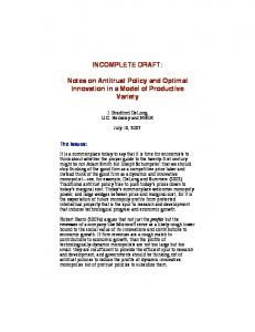 INCOMPLETE DRAFT: Notes on Antitrust Policy and Optimal Innovation in a Model of Productive Variety