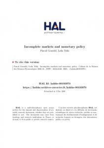 Incomplete markets and monetary policy