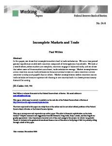 Incomplete Markets and Trade
