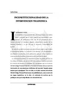 INCONSTITUCIONALIDAD DE LA INTERVENCION TELEFONICA
