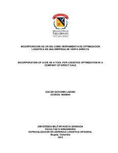 INCORPORACION DE UN SIG COMO HERRAMIENTA DE OPTIMIZACION LOGISTICA EN UNA EMPRESA DE VENTA DIRECTA