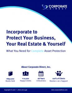 Incorporate to Protect Your Business, Your Real Estate & Yourself