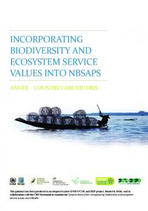 INCORPORATING BIODIVERSITY AND ECOSYSTEM SERVICE VALUES INTO NBSAPS