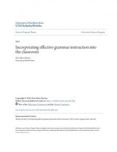 Incorporating effective grammar instruction into the classroom