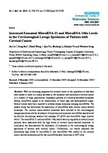 Increased Exosomal MicroRNA-21 and MicroRNA-146a Levels in the Cervicovaginal Lavage Specimens of Patients with Cervical Cancer