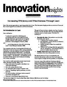 Increasing Efficiency and Effectiveness Through Lean