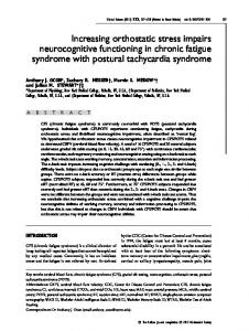 Increasing orthostatic stress impairs neurocognitive functioning in chronic fatigue syndrome with postural tachycardia syndrome