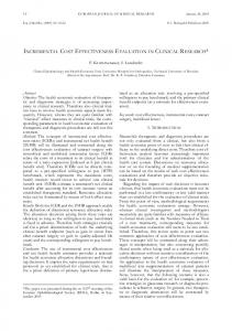 INCREMENTAL COST EFFECTIVENESS EVALUATION IN CLINICAL RESEARCH*