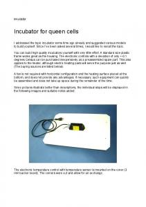 Incubator for queen cells