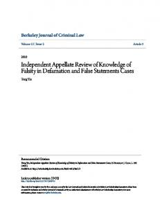 Independent Appellate Review of Knowledge of Falsity in Defamation and False Statements Cases