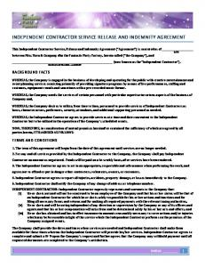 INDEPENDENT CONTRACTOR SERVICE RELEASE AND INDEMNITY AGREEMENT