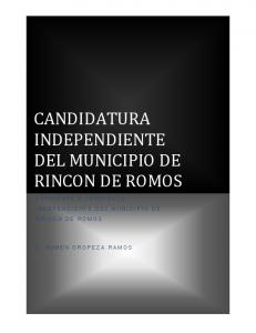 INDEPENDIENTE DEL MUNICIPIO DE RINCON DE ROMOS