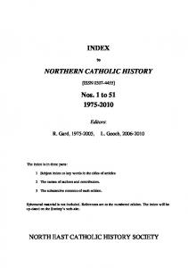 INDEX NORTHERN CATHOLIC HISTORY. Nos. 1 to