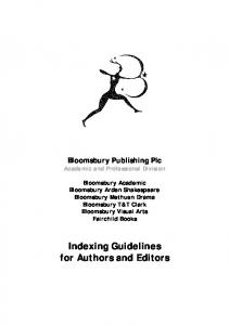 Indexing Guidelines for Authors and Editors