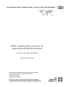 INDIA: Evaluating Bank Assistance for Agricultural and Rural Development