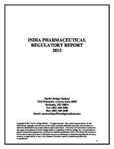 INDIA PHARMACEUTICAL REGULATORY REPORT 2013