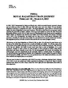 INDIA: ROYAL RAJASTHAN TRAIN JOURNEY FEBRUARY 18 MARCH 4, 2015