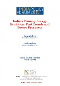 India s Primary Energy Evolution: Past Trends and Future Prospects