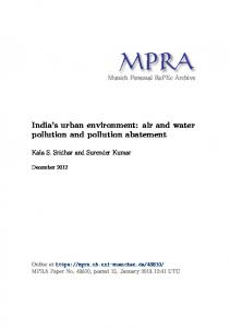 India s urban environment: air and water pollution and pollution abatement