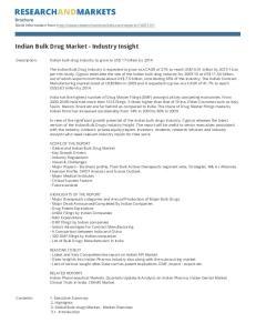Indian Bulk Drug Market - Industry Insight