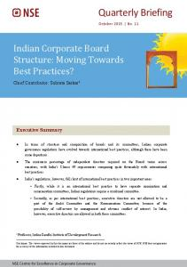 Indian Corporate Board Structure: Moving Towards Best Practices?
