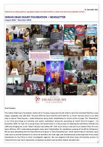 INDIAN HEAD INJURY FOUNDATION NEWSLETTER (August 2014 December 2014)