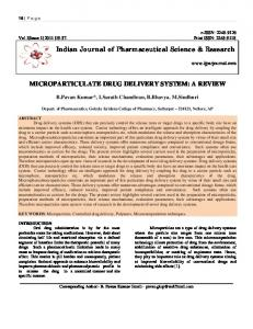 Indian Journal of Pharmaceutical Science & Research