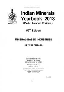 Indian Minerals Yearbook 2013 (Part- I General Reviews )