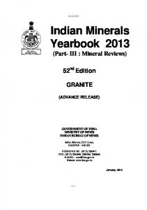 Indian Minerals Yearbook 2013 (Part- III : Mineral Reviews)