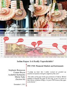 Indian Rupee: Is it Really Unpredictable?