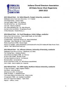 Indiana Choral Directors Association All-State Honor Choir Repertoire
