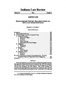 Indiana Law Review. Volume Number 3 ARTICLES TABLE OF CONTENTS