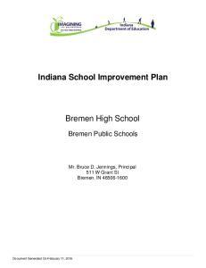 Indiana School Improvement Plan. Bremen High School