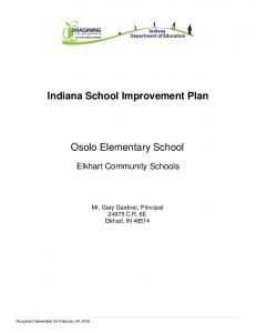 Indiana School Improvement Plan. Osolo Elementary School