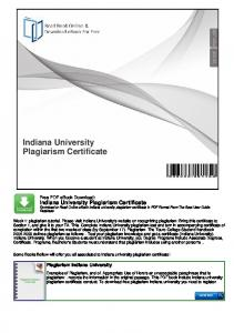 Indiana University Plagiarism Certificate